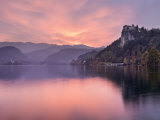 Lake Bled at Sunset with Bled Castle on Left, Gorenjska, Julian Alps, Slovenia, Europe Photographic Print by Edwardes Guy