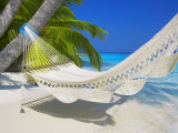 Empty Hammock on Beach, Maldives, Indian Ocean Photographic Print by Papadopoulos Sakis