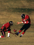 Football Place Kicker and Holder in Action Photographic Print
