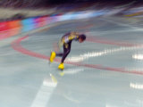 Blurred Action of Speed Skater Photographic Print by Paul Sutton
