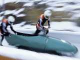 Two Man Bobsled Team Pushing Off at the Start Model Release 2643 2644, Lake placid, New York, USA Photographic Print by Paul Sutton