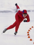 Female Speed Skater in Action Photographic Print