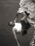 Man Rock Climbing, View from Above, New Paltz, New York, USA Photographic Print