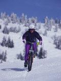 Mountain Biking on Snow Photographic Print
