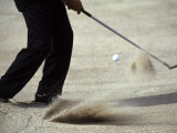 Detail of Golfer Blasting Out of Sand Trap Photographic Print