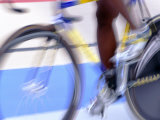 Detail of Blurred Action of Cyclist on Velodrome Photographic Print by Chris Trotman