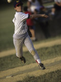 Young Boy Pitching During a Little League Baseball Games Photographic Print