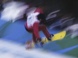 Blurred Action of Snowboarder, Nagano, JPN Photographic Print