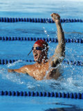 Swimmer Celebrating His Victory Photographie