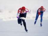 Female Speed Skaters in Action Photographic Print