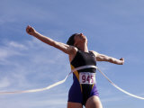 Runner Celebrates at the Finish Line Photographic Print