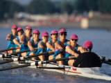 Womens Eights Rowing Team in Action Photographic Print
