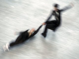 Blured Action of Pairs Figure Skaters Doing a Death Spiral Photographic Print by Steven Sutton