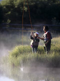 Father Fly Fishing with His Daughter Photographic Print