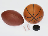 Sports Equipmet: Football, Baseball, Basketball,Hockey Puck Photographic Print