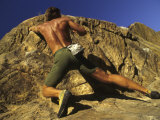 Man Rock Climbing Without Equipment Photographic Print