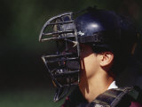 Baseball Catcher with Mask Photographic Print