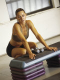 Woman Resting after Working Out in Gym, New York, New York, USA Photographic Print