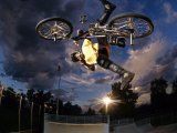 Bmx Cyclist Flys over the Vert Stampa fotografica