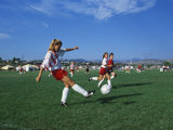 15 Year Old Girls in Action Durring Soccer Game, Lakewood, Colorado, USA Photographie
