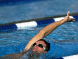 Male Swimmer in Action Doing the Backstroke Photographic Print