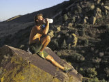 Male Rock Climber Drinking During a Rest Break, USA Photographic Print