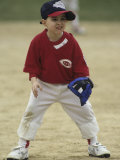 Young Boy at Short Stop During a Tee Ball Game Photographic Print