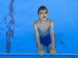 9 Year Old Boy Swimming in Pool, Kiamesha Lake, New York, USA Photographic Print by Paul Sutton