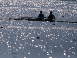 Silhouette of Men's Pairrs Rowing Team in Action, Atlanta, Georgia, USA Photographic Print