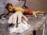 Wall Climber Reaches for a Grip, Colorado, USA Fotografisk tryk