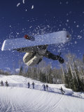 Blurred Action of Snowboarder, Aspen, Colorado, USA Photographic Print