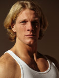 Portrait of Young Man in Fitness Studio, New York, New York, USA Photographic Print by Chris Trotman