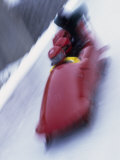 Blurred Action of the Start of 4 Man Bobsled Team, Lake Placid, New York, USA Photographic Print by Chris Trotman