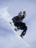 Snowboarder Flying Throught the Air Photographic Print