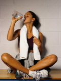 Women Drinking after Exercise Session, New York, New York Photographic Print by Paul Sutton