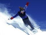 Young Male Snowboarder in Action Photographic Print