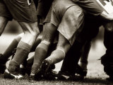 Detail of Feet of a Group of Rugby Players in a Scrum, Paris, France Lámina fotográfica