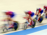 Blurred Action of Cycliing Team on the Track Photographic Print by Chris Trotman