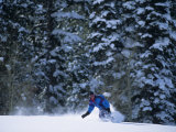 Male Snowboarder in Action Photographic Print
