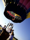 Hot Air Balloon Being Prepared for Lift Off. Hudson Valley, New York, New York, USA Photographic Print by Paul Sutton