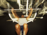 Male Working Out with Wieghts in a Health Club, Rutland, Vermont, USA Photographic Print by Paul Sutton