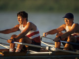 Men's Pairs Rowing Team in Action, Vancouver Lake, Washington, USA Photographic Print