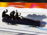 Start of a 4-Man Bobsled Team in Action, Torino, Italy Photographic Print by Chris Trotman