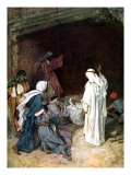 Jesus raises Lazarus from the dead before Martha and Mary Giclée-Druck von William Brassey Hole
