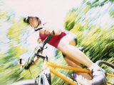 Action of Female Cyclist on Mountain Bike Riding Throught the Woods, Rutland, Vermont, USA Photographic Print by Chris Trotman
