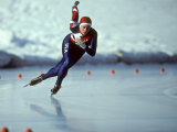 Male Speed Skater in Action Photographic Print