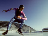 Male Speed Skater in Action at the Start Photographic Print