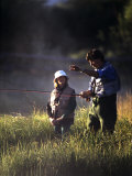 Father and Daughter Fishing Photographic Print