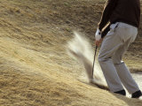 Golfer Blasting Out of Sand Trap Photographic Print