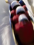4-Man Bobsled Team in Action Photographic Print